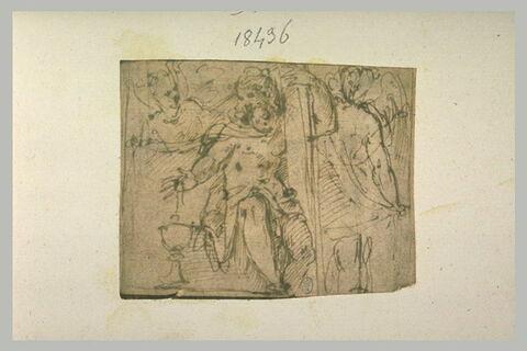 Deux anges entourant le Christ assis près du calice et portant la Croix