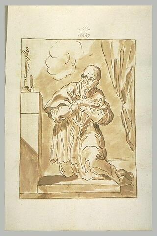 Saint Charles Borromée à genoux devant un crucifix