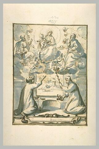 Deux saints adorant la Vierge à l'Enfant entre saint Pierre et saint Paul