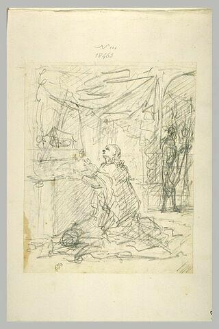 Un homme à genoux devant un reliquaire