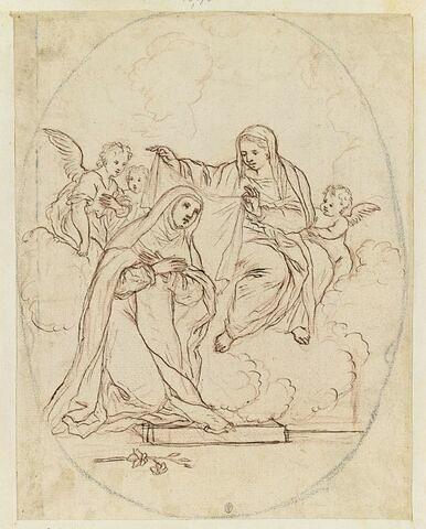 La Vierge, entourée d'anges, couvrant d'un voile la tête d'une religieuse