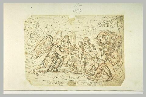 La Vierge, Joseph et l'Enfant servi par les anges lors de la Fuite en Egypte