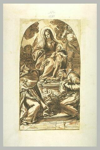 Vierge à l'Enfant donnant le rosaire à saint Dominique, et saint François