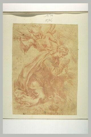Sainte à genoux, les mains jointes, tourmentée par une figure diabolique