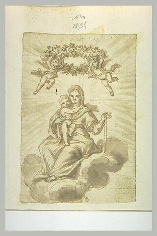 Deux anges couronnant la Vierge tenant l'Enfant et un rosaire