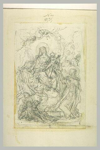 Vierge à l'Enfant remet le rosaire à saint Dominique devant sainte Catherine