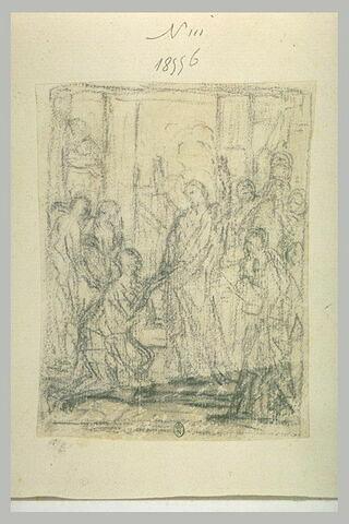 Foule entourant une figure à genoux devant le Christ : miracle du Christ (?)