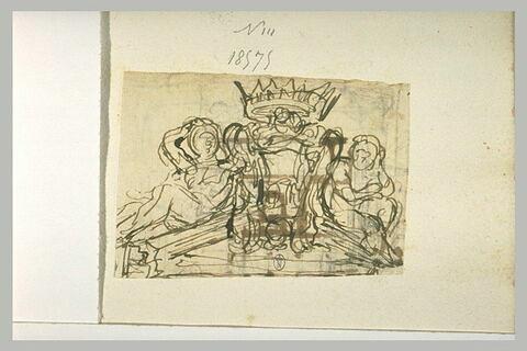 Deux figures assises sur un fronton encadrant un médaillon couronné