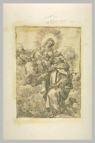 La Vierge à l'Enfant tenant saint Dominique par l'épaule devant un saint
