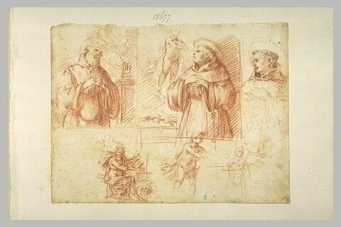 Trois études de saints ; saint Marc écrivant ; deux études d'enfant