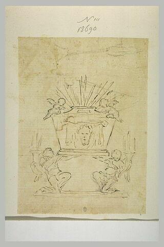 Deux anges soutenant un autel avec la représentation de la Sainte Face