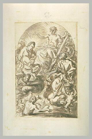 Saint et la Vierge intercedant auprès du Christ pour les âmes du purgatoire