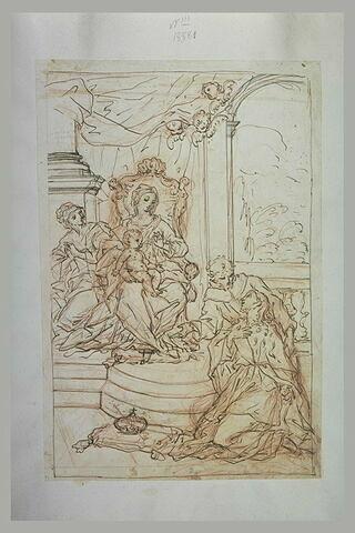 Figure agenouillée près d'une couronne, devant la Vierge et l'Enfant