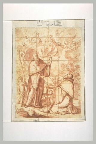 Un évêque remettant la règle monastique à un moine