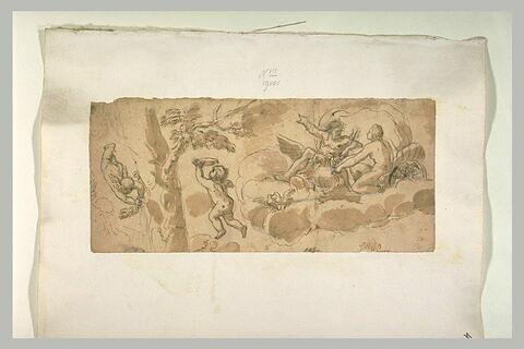 Vénus et Jupiter dans un char trainé par deux amours et deux colombes