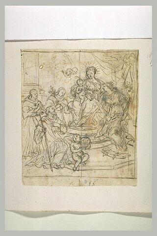 Vierge à l'Enfant adorée par des saints dont Catherine et Bruno et un évêque