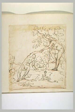 Eve donnant le fruit défendu à Adam