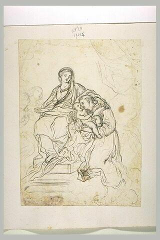 Saint François, agenouillé devant la Vierge, tenant l'Enfant