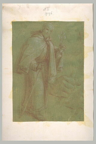 Saint pélerin, tenant un lys