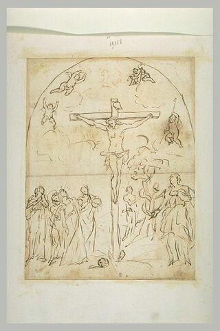 Le Christ en croix , avec Adam et Eve