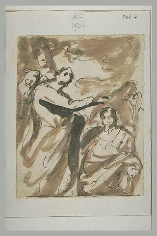 Un homme étendant la main sur un homme agenouillé devant lui