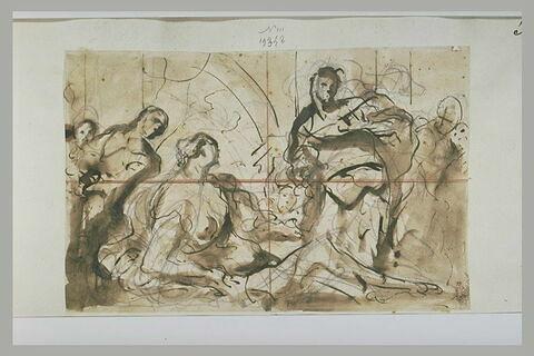 Femme nue étendue, avec d'autres figures debout