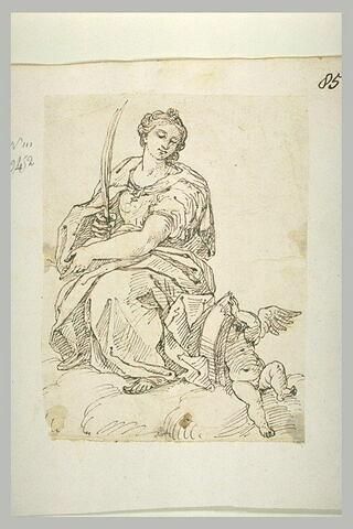 Sainte martyre sur des nuages
