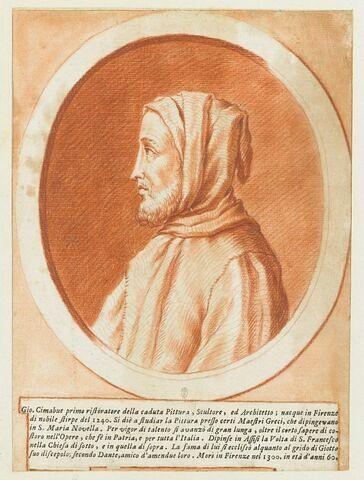 Portrait en buste de Cimabue, dans un ovale entouré d'un cadre feint