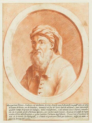 Portrait en buste de Margaritone, dans un ovale entouré d'un cadre feint