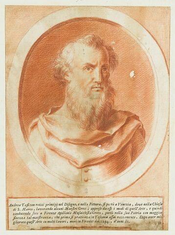 Portrait d'Andrea Tafi, dans un ovale entouré d'un cadre feint