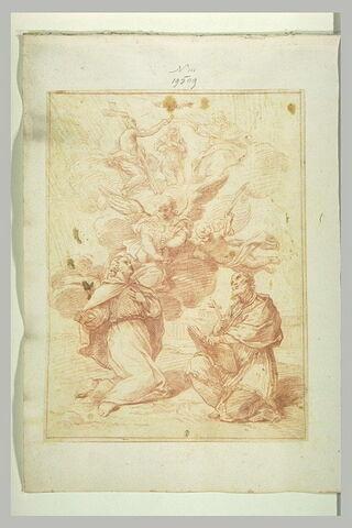La Vierge couronnée par la Sainte Trinité et religieux reçevant la communion