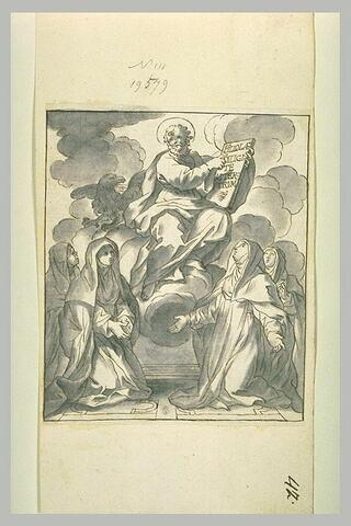 Quatre religieuses à genoux implorant Saint Jean