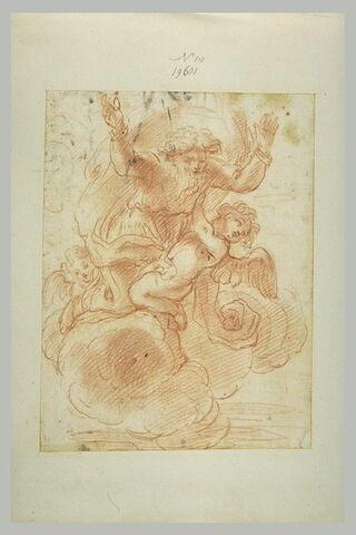 Dieu sur des nuages, les bras levés, et des anges