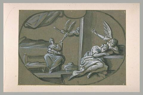 Un ange apparaît à Joseph pendant son sommeil et l'invite à fuir en Egypte