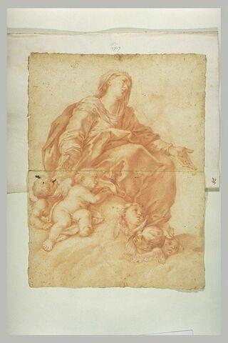 La Vierge assise sur des nuages le bras ouverts, et plusieurs anges
