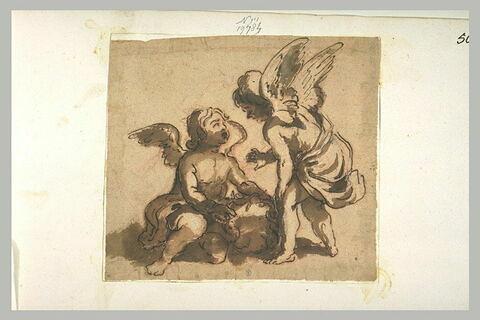 Ange se penchant vers un autre ange tenant la couronne d'épines