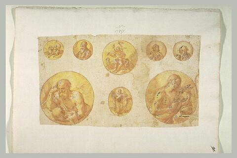 Huit médaillons montrant des portraits de saints