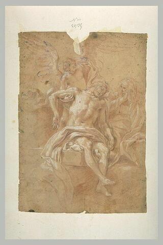 Le Christ mort, soutenu par un ange, pleuré par la Vierge