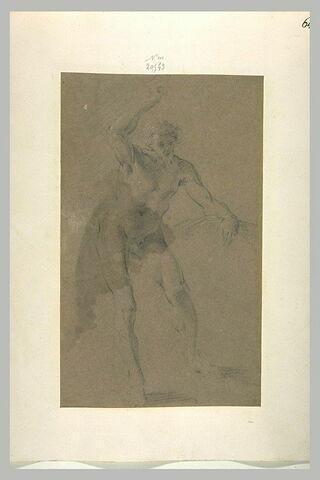 Homme nu, debout, de face, le bras gauche levé