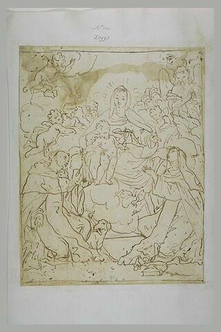 Vierge tenant l'Enfant donnant un rosaire à saint Dominique et une sainte