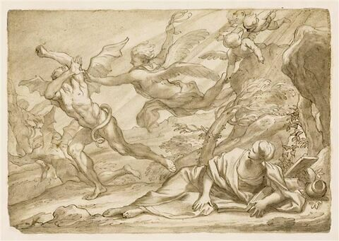 Ange chassant les démons assaillant une sainte en pénitence