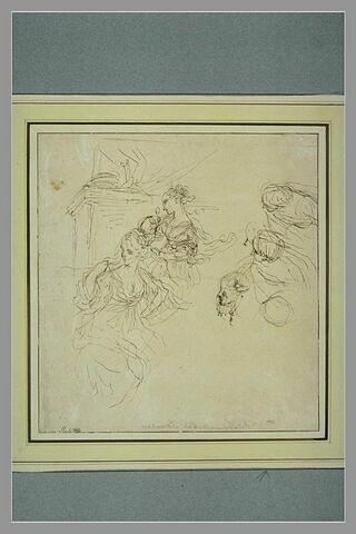 Femme en buste tenant une voile avec une suivante et quatre autres silhouettes