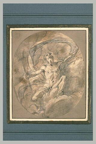 Neptune assis sur des nuages