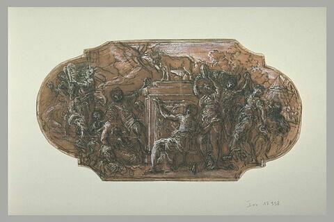 Moïse brisant les Tables de la Loi avec adoration du Veau d'or