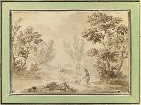Paysage avec un berger et son troupeau