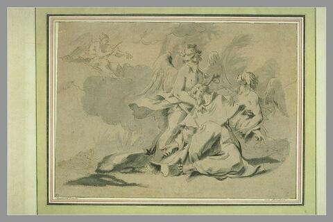 Saint François secouru par deux anges ; un ange musicien
