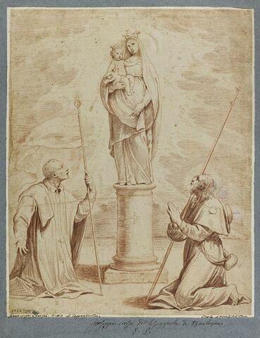 Deux pélerins devant la Vierge miraculeuse de Saint Luc, près de Bologne