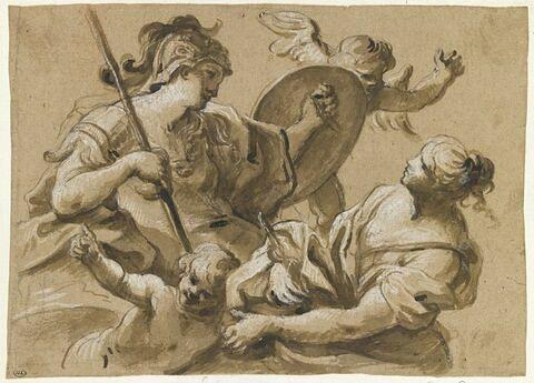 Minerve entourée de deux anges et d'une jeune fille
