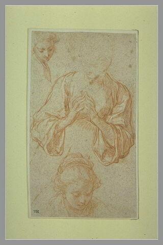 Buste de femme, les mains jointes et études de deux têtes féminines