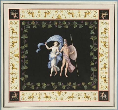 Arès et Aphrodite entourés de pampres.